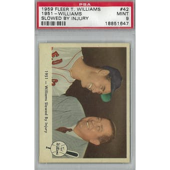 1959 Fleer Baseball Ted Williams Baseball #42 1951 Slowed By Injury PSA 9 (Mint) *1647 (Reed Buy)
