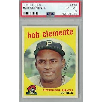 1959 Topps Baseball #478 Roberto Clemente PSA 6 (EX-MT) *1914 (Reed Buy)