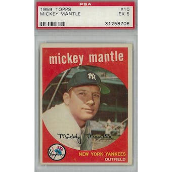1959 Topps Baseball #10 Mickey Mantle PSA 5 (EX) *8706 (Reed Buy)