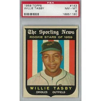 1959 Topps Baseball #143 Willie Tasby PSA 8 (NM-MT) *1180 (Reed Buy)