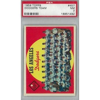 1959 Topps Baseball #457 Dodgers Teama PSA 7 (NM) *1492 (Reed Buy)