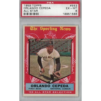 1959 Topps Baseball #553 Orlando Cepeda AS PSA 6 (EX-MT) *1588 (Reed Buy)
