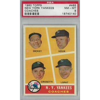 1960 Topps Baseball #465 Yankees Coaches PSA 8 (NM-M)T *0140 (Reed Buy)