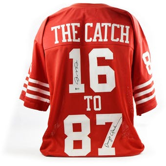 "Montana & Clark ""The Catch"" Dual Autographed SF 49ers  Custom Football Jersey (Beckett COA)"