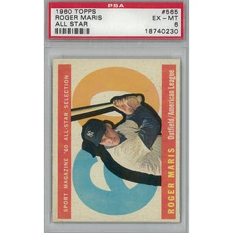 1960 Topps Baseball #565 Roger Maris AS PSA 6 (EX-MT) *0230 (Reed Buy)