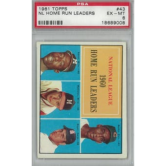 1961 Topps Baseball #43 NL HR Leaders PSA 6 (EX-MT) *9008 (Reed Buy)