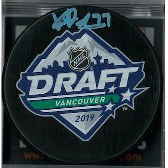 Kirby Dach Autographed 2019 NHL Draft Hockey Puck (DACW COA)