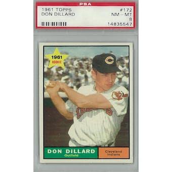 1961 Topps Baseball #172 Don Dillard PSA 8 (NM-MT) *5547 (Reed Buy)