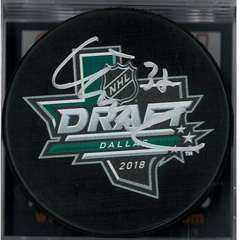 Isac Lundestrom Autographed 2018 NHL Draft Hockey Puck (DACW COA)