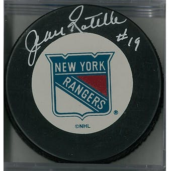 Jean Ratelle Autographed New York Rangers Hockey Puck (AJSW COA)