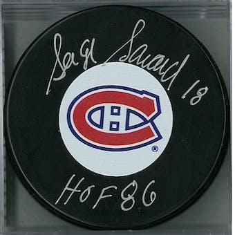 Serge Savard Autographed Montreal Canadians Hockey Puck (AJSW COA)