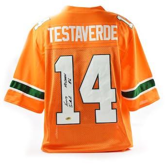 Vinny Testaverde Autographed Miami Hurricanes Custom Football Jersey /w Heisman '86 Inscription (MAB COA)