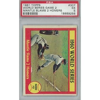 1961 Topps Baseball #307 WS Game 2 Mantle PSA 5 (EX) *9256 (Reed Buy)