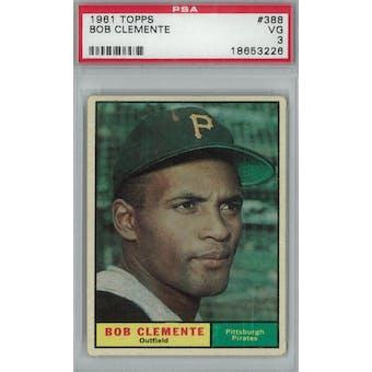 1961 Topps Baseball #388 Roberto Clemente PSA 3 (VG) *3226 (Reed Buy)