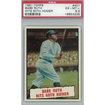 1961 Topps Baseball  #401 Babe Ruth Hits 60th HR PSA 6.5 (EX-MT+) *3235 (Reed Buy)