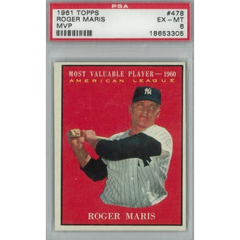 1961 Topps Baseball #478 Roger Maris MVP PSA 6 (EX-MT) *3305 (Reed Buy)