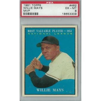 1961 Topps Baseball #482 Willie Mays MVP PSA 6 (EX-MT) *3309 (Reed Buy)