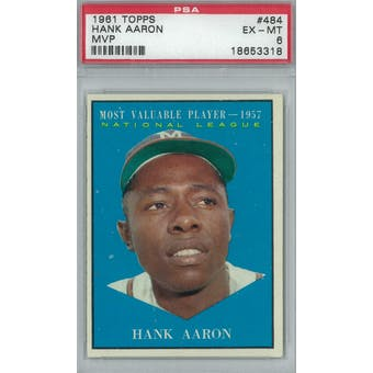 1961 Topps Baseball #484 Hank Aaron MVP PSA 6 (EX-MT) *3318 (Reed Buy)
