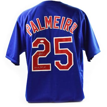 Rafael Palmeiro Autographed Chicago Cubs Custom Baseball Jersey w/ Inscription (JSA COA)