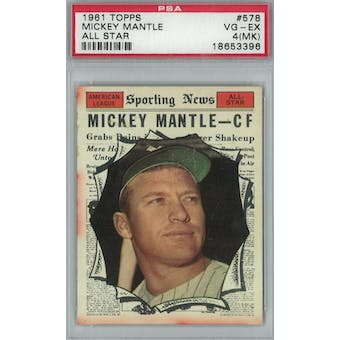 1961 Topps Baseball #578 Mickey Mantle AS PSA 4MK (VG-EX) *3396 (Reed Buy)