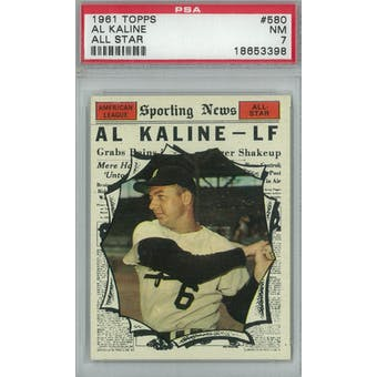 1961 Topps Baseball #580 Al Kaline AS PSA 7 (NM) *3398  (Reed Buy)
