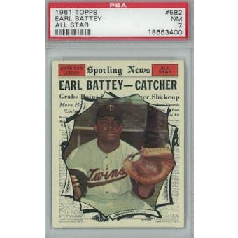 1961 Topps Baseball #582 Earl Battey AS PSA 7 (NM) *3400 (Reed Buy)