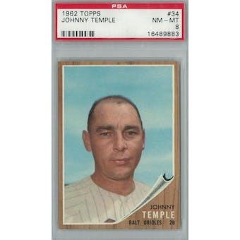 1962 Topps Baseball #34 Johnny Temple PSA 8 (NM-MT) *9883 (Reed Buy)