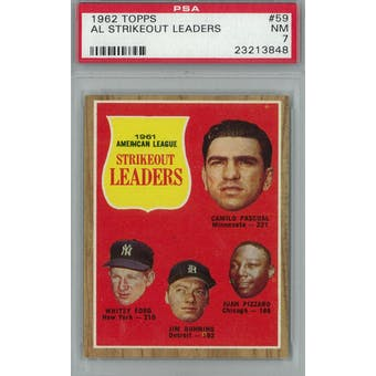 1962 Topps Baseball #59 AL Strikeout Leaders PSA 7 (NM) *3848 (Reed Buy)