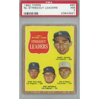 1962 Topps Baseball #60 NL Strikeout Leaders PSA 7 (NM) *3821 (Reed Buy)