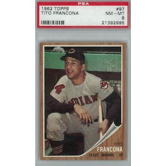 1962 Topps Baseball #97 Tito Francona PSA 8 (NM-MT) *2995 (Reed Buy)
