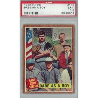 1962 Topps Baseball #135 Babe As A Boy PSA 5.5 (EX+) *5803 (Reed Buy)