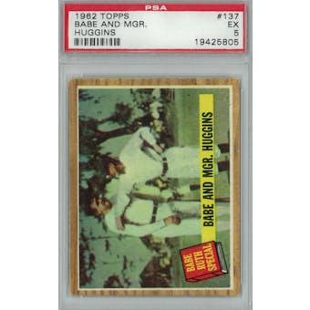 1962 Topps Baseball #137 Babe And Mgr. Huggins PSA 5 (EX) *5805 (Reed Buy)