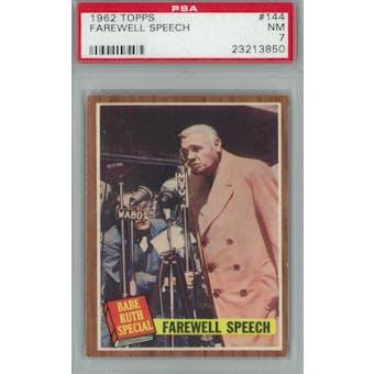 1962 Topps Baseball #144 Farewell Speech PSA 7 (NM) *3850 (Reed Buy)