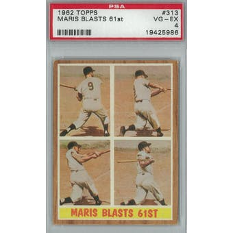 1962 Topps Baseball #313 Maris Blasts 61st PSA 4 (VG-EX) *5986 (Reed Buy)