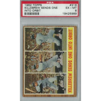 1962 Topps Baseball #316 Killebrew Sends One PSA 6 (EX-MT) *5989 (Reed Buy)