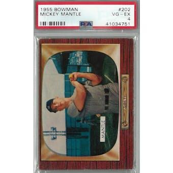 1955 Bowman Baseball #202 Mickey Mantle PSA 4 (VG-EX) *4751 (Reed Buy)