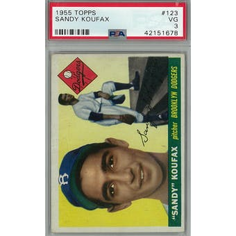 1955 Topps Baseball #123 Sandy Koufax RC PSA 3 (VG) *1678 (Reed Buy)