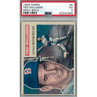 1956 Topps Baseball #5 Ted Williams GB PSA 3 (VG) *2369 (Reed Buy)