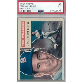 1956 Topps Baseball #5 Ted Williams GB PSA 3 (VG) *2369 (Reed Buy)