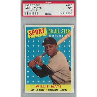 1958 Topps Baseball #486 Willie Mays AS PSA 7 (NM) *2508 (Reed Buy)