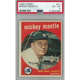 1959 Topps Baseball #10 Mickey Mantle PSA 4 (VG-EX) *3099 (Reed Buy)