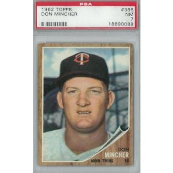 1962 Topps Baseball #386 Don Mincher PSA 7 (NM) *0088 (Reed Buy)