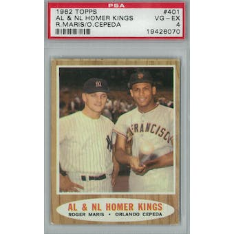 1962 Topps Baseball #401 AL & NL Homer Kings PSA 4 (VG-EX) *6070 (Reed Buy)