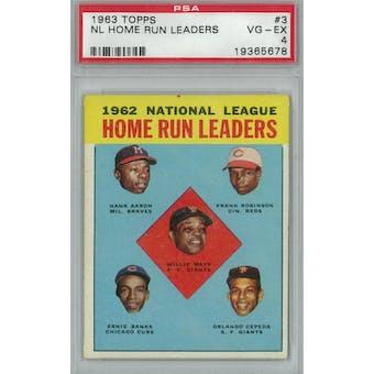1963 Topps Baseball  #3 NL HR Leaders PSA 4 (VG-EX) *5678 (Reed Buy)