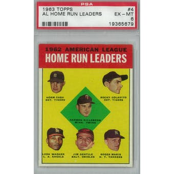 1963 Topps Baseball #4 AL HR Leaders PSA 6 (EX-MT) *5679 (Reed Buy)