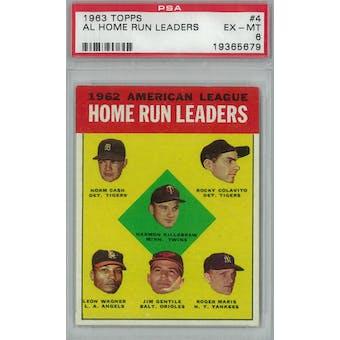 1963 Topps Baseball #4 AL HR Leaders PSA 6 (EX-MT) *5679 (Reed Buy)