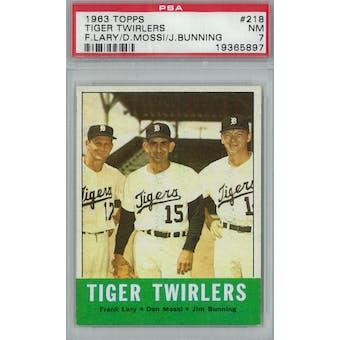 1963 Topps Baseball #218 Tiger Twirlers PSA 7 (NM) *5897 (Reed Buy)