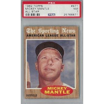 1962 Topps Baseball #471 Mickey Mantle AS PSA 7 (NM) *6871 (Reed Buy)