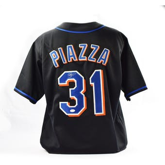 Mike Piazza Autographed New York Mets Custom Baseball Jersey (JSA COA)