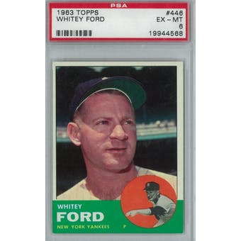 1963 Topps Baseball  #446 Whitey Ford PSA 6 (EX-MT) *4568 (Reed Buy)